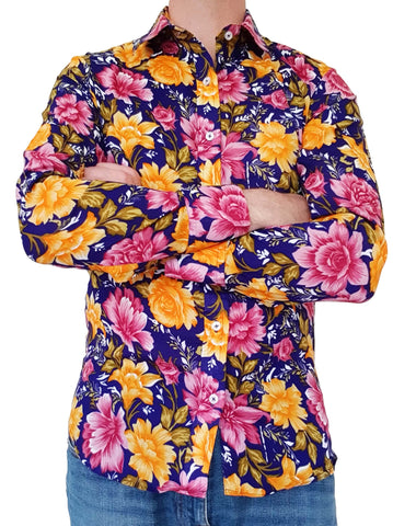 Bent Banani Long Sleeve Floral Shirt - ALFIE - Big Gold & Pink Flowers On Deep Navy Blue