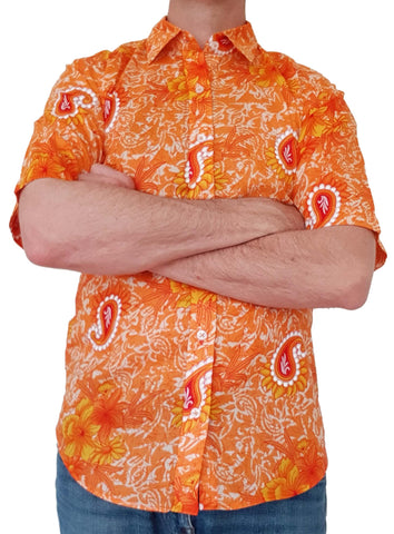 Bent Banani Short Sleeve Floral Shirt - MOONEE - Orange And Paisley Cotton Shirt