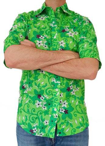 Bent Banani Short Sleeve Floral Shirt - DAVIDSON. White And Dark Green Flowers On Light Green