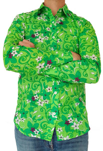 Bent Banani Long Sleeve Floral Shirt - DAVIDSON. White And Dark Green Flowers On Light Green