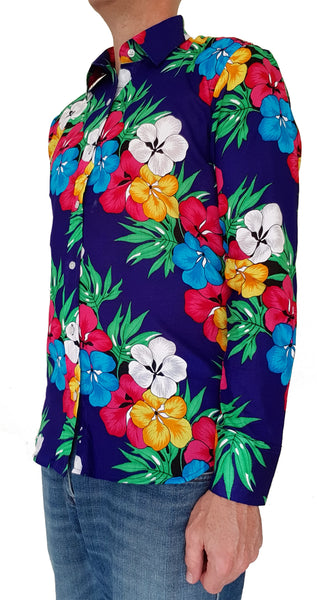 Bent Banani Long Sleeve Floral Shirt - Red, Blue, Yellow, Green, White Hibiscus Flowers On Dark Blue
