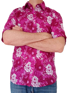 Bent Banani Half Sleeve Floral Shirt - White Flowers On Pink / Purple
