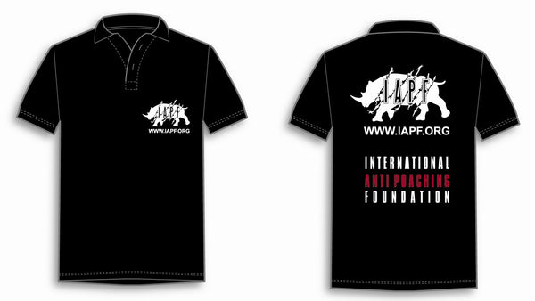 International Anti-Poaching Foundation - Black Polo Shirt With IAPF Logo On Left Breast and On The Back