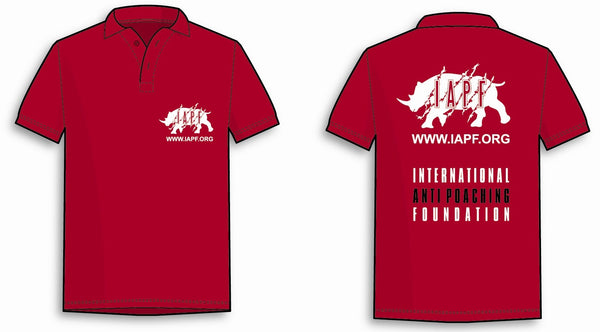 International Anti-Poaching Foundation - Red Polo Shirt With IAPF Logo On Left Breast and On The Back