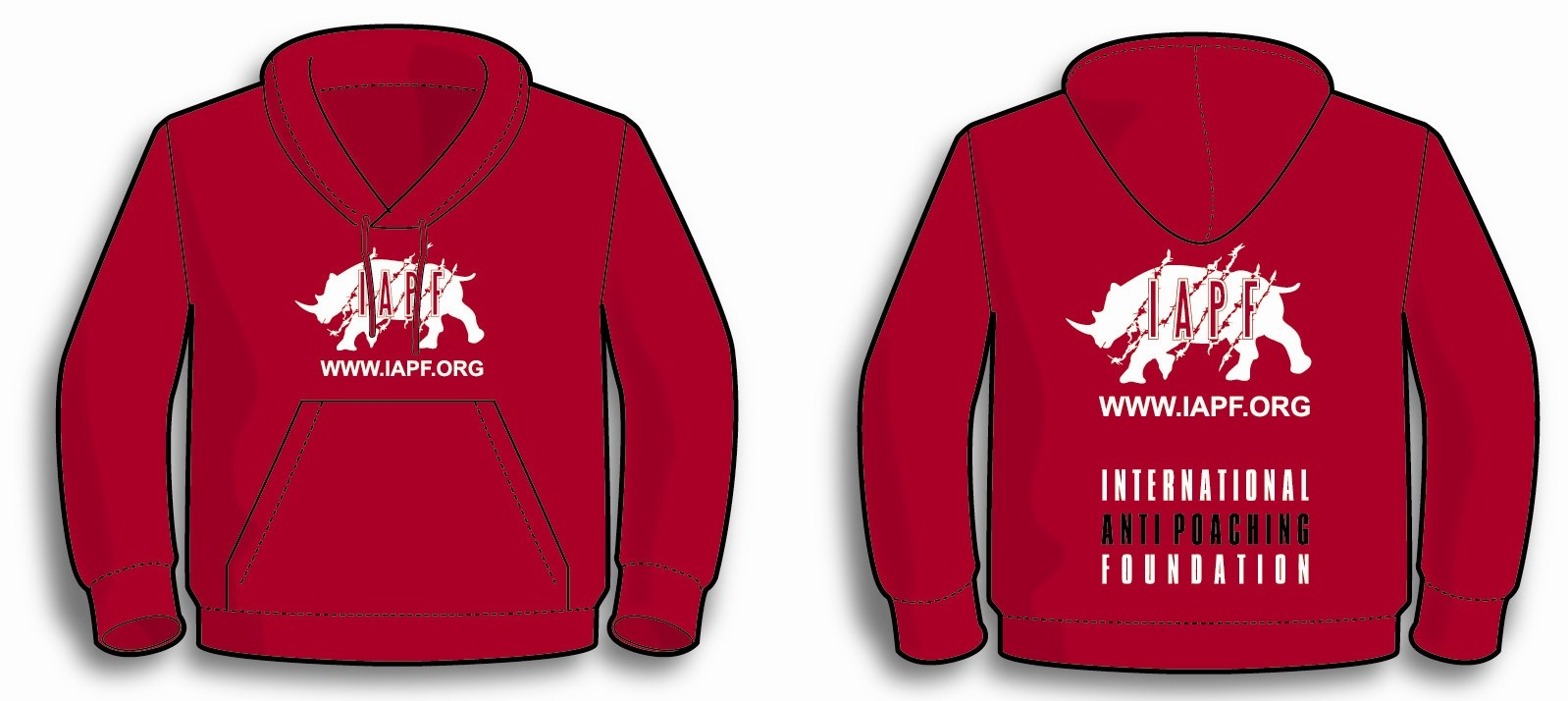 International Anti-Poaching Foundation - Red Kid's Hoodie With IAPF Logo On Front Centre And On Full Back