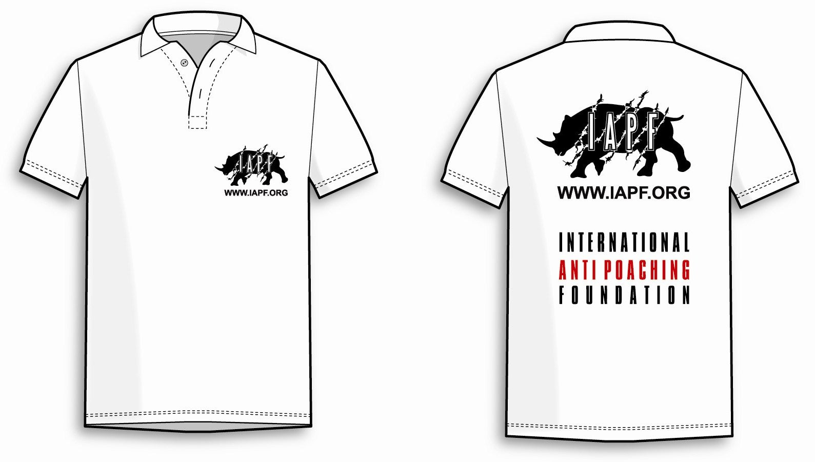 International Anti-Poaching Foundation - White Polo Shirt With IAPF Logo On Left Breast and On The Back