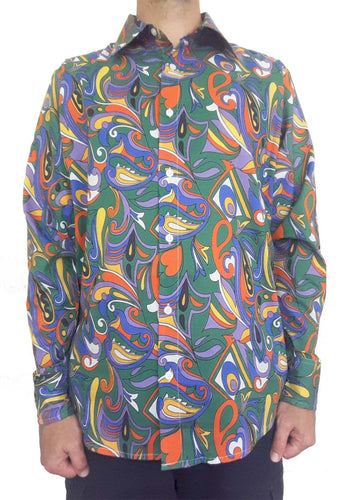 Bent Banani Full Sleeve Floral Shirt - Blue, Orange, Green, Purple, and White Swirls