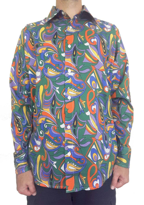 Bent Banani Men's, 100% Cotton, Long Sleeve, Floral Shirt - Blue, Orange, Green, Purple, and White Swirls