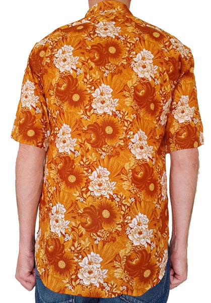 Bent Banani Short Sleeve Floral Shirt - DOLLY - Golden Based With Large White And Gold Flowers