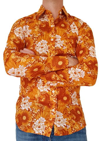 Bent Banani Long Sleeve Floral Shirt - DOLLY - Golden Based With Large White And Gold Flowers