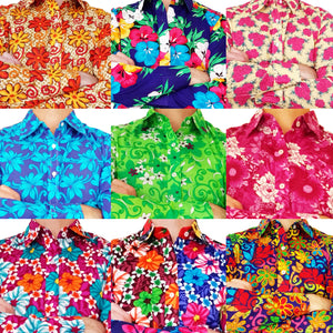 A Montage Of 9 Different 100% Cotton Bent Banani Floral Shirts