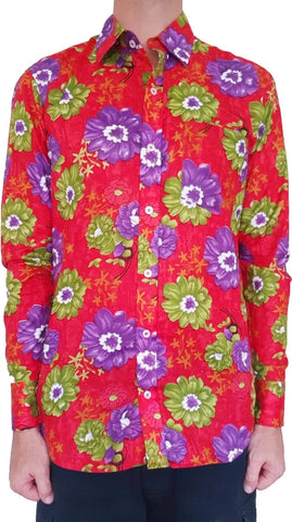 Bent Banani 100% Cotton, Long Sleeve, Floral Shirt - Green & Purple Flowers On Red