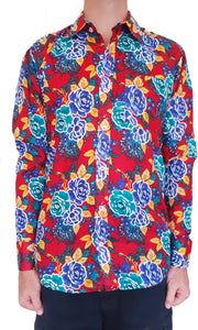 Bent Banani 100% Cotton, Long Sleeve, Floral Shirt - With Bright Red, Blue, & Green Flowers