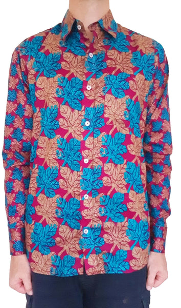 Bent Banani 100% Cotton, Long Sleeve, Floral Shirt - Blue & Brown Leaves On Maroon