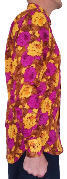 Bent Banani 100% Cotton, Long Sleeve, Floral Shirt - Yellow & Purple Flowers On Brown Floral