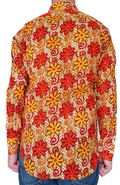 Bent Banani Long Sleeve Floral Shirt - SHEPHERD. Orange And Yellow Flowers On Orange Spotted Background