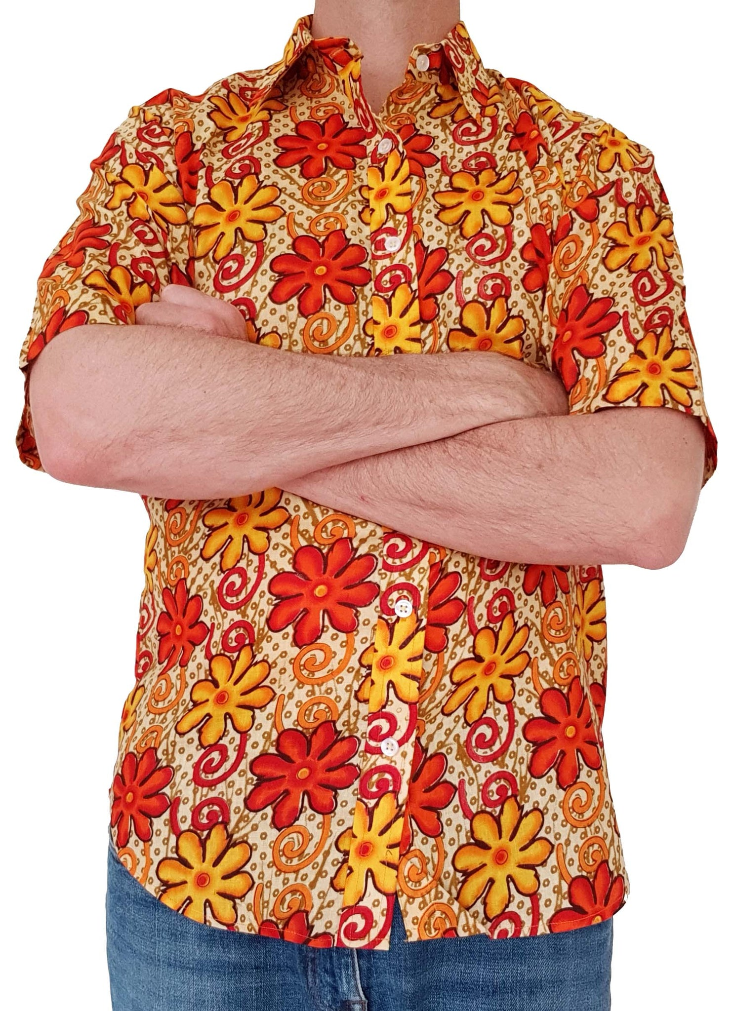 Bent Banani Short Sleeve Floral Shirt - SHEPHERD. Orange And Yellow Flowers On Orange Spotted Background