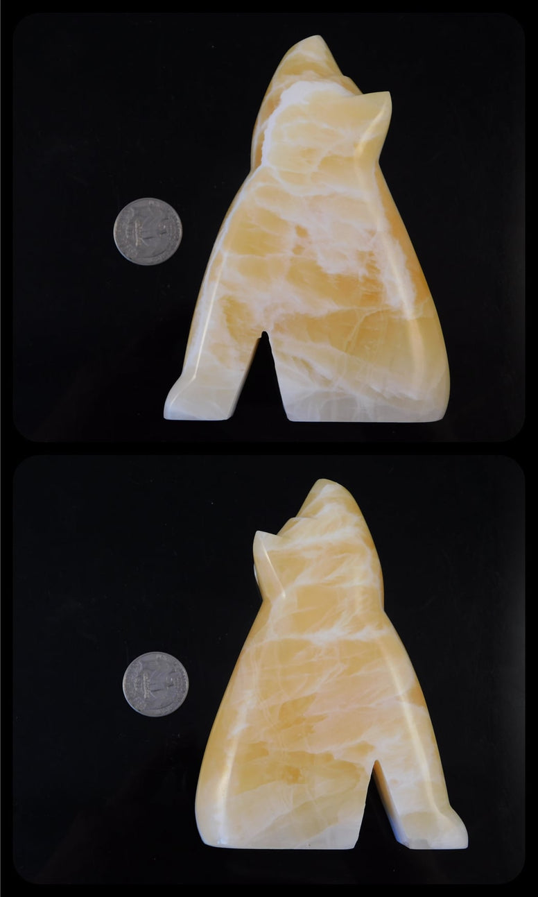Orange Honeycomb Calcite Carved Wolf 5""