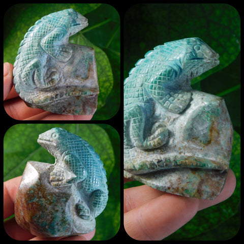 Shattuckite Hand Carved Lizard