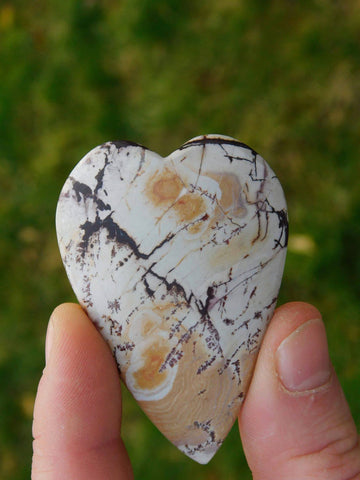 Dendridic Rhyolite Carved Heart - Moroccan Village