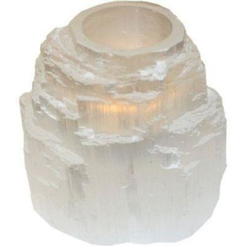 White Selenite Candle Holder for Tealight (Gypsum Tower Skyscraper Crystal) - Moroccan Village