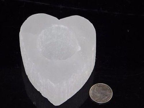 White Selenite Candle Holder for Tealight (Gypsum Crystal Heart Shaped Selenite) - Moroccan Village