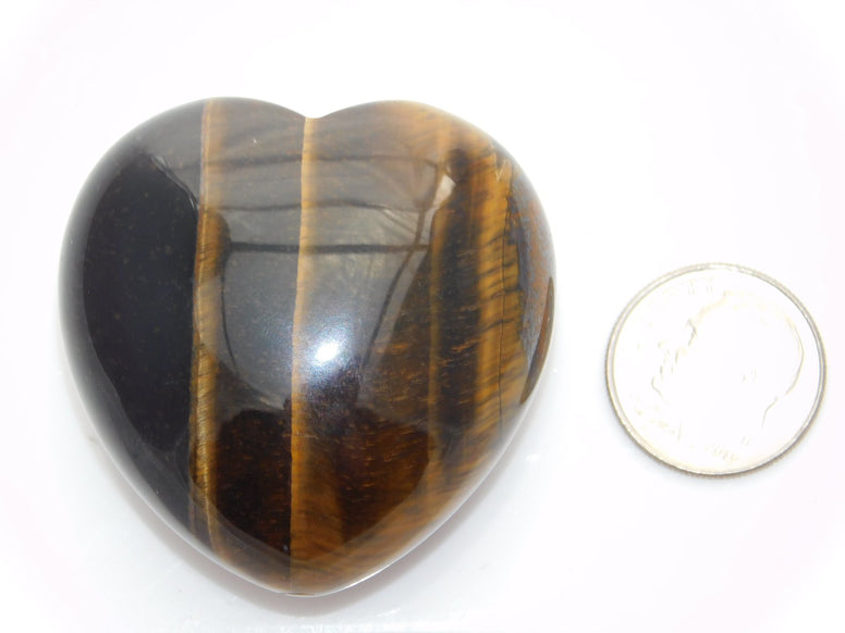 Tiger's Eye Puffy Heart