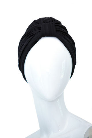 CHEVALRET Black Pleated Mousseline Turban