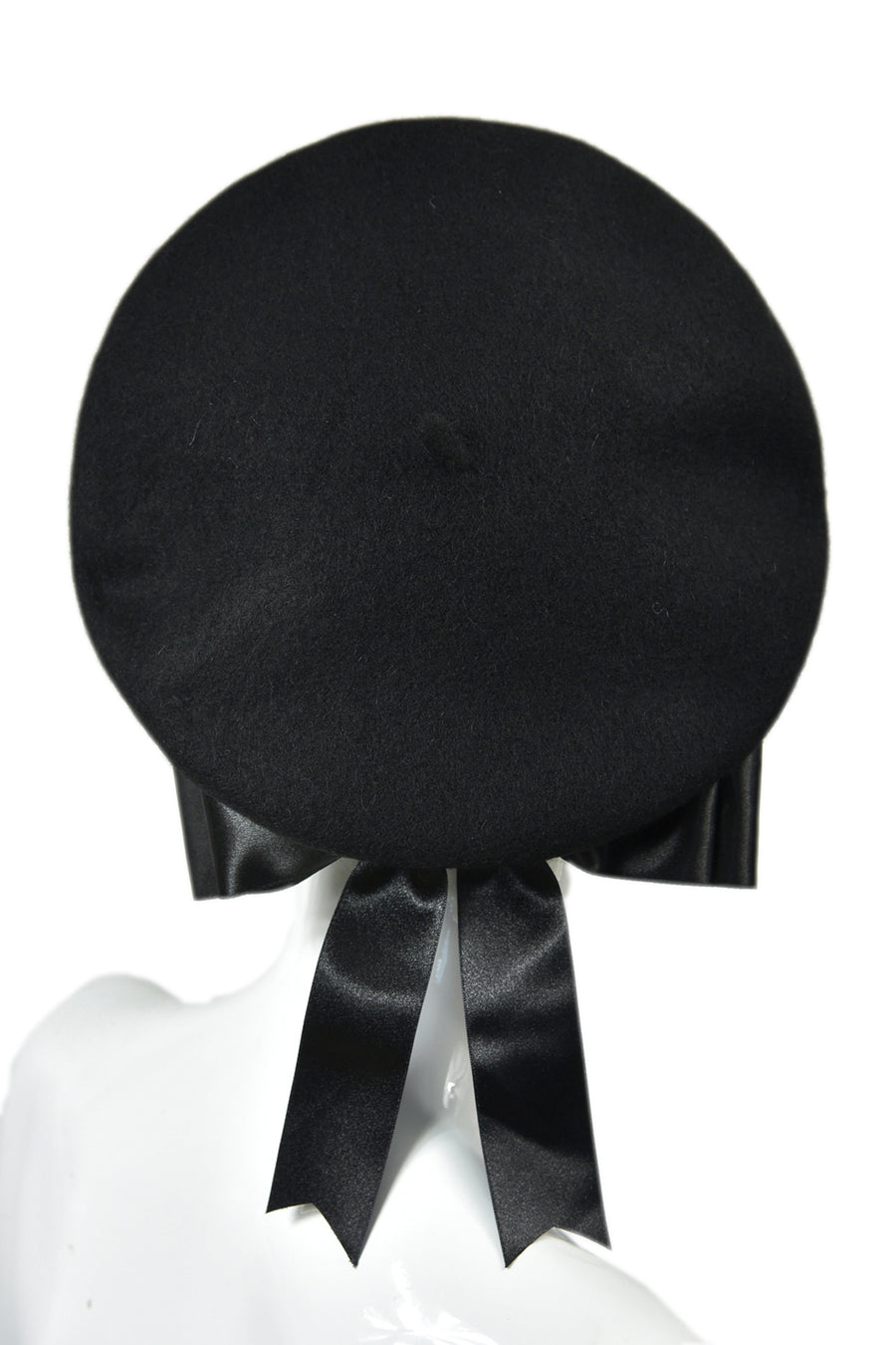 Black béret noir with bow béret noeud