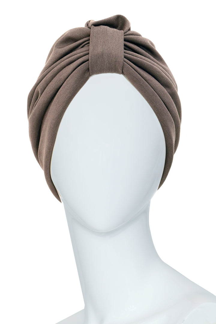 GALLIENI Brown Turban in cotton