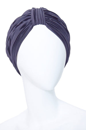 AZUR Blue Turban Made of Pleated Satin.