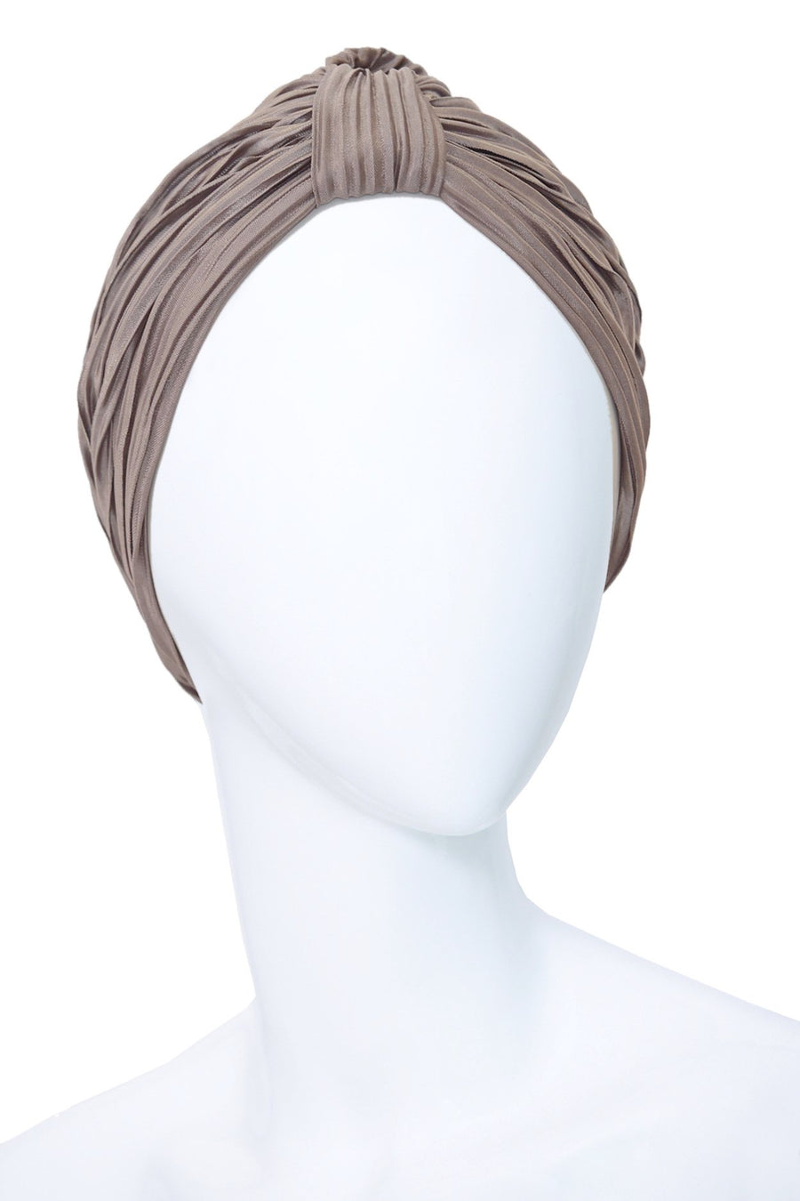 BRUNE Brown Turban made of Pleated Satin