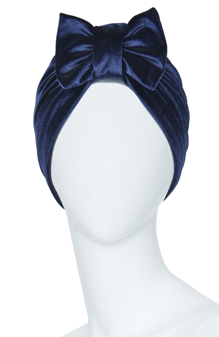 women turban headwrap blue velvet with bow