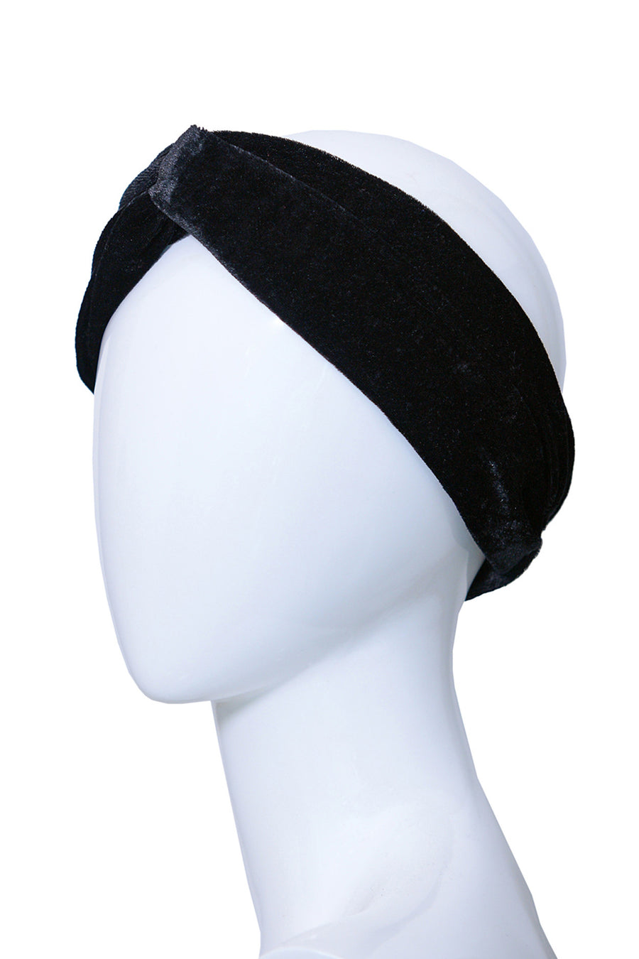 APOLINE Black Crossed Handmade Headband in Velvet