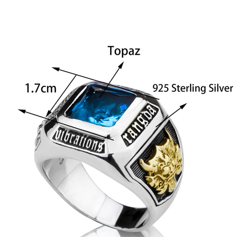 Sterling Silver Blue Topaz with Hand Carved Golden Dragon Ring