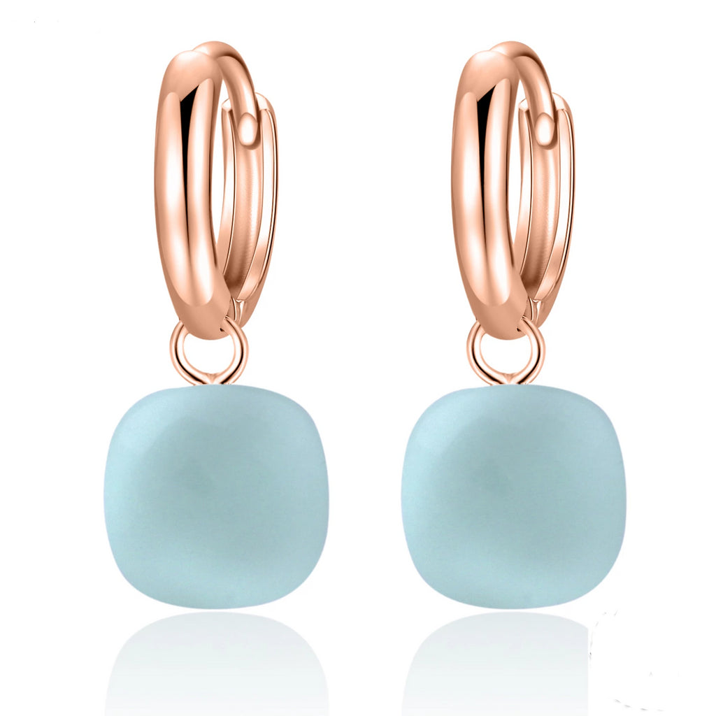 Natural Sky Blue Agate Sterling Silver With Rose Gold Color Drop Earrings