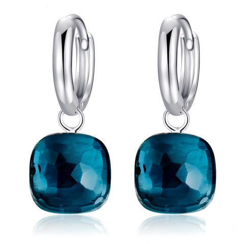 Natural Blue Topaz Sterling Silver Drop Earrings