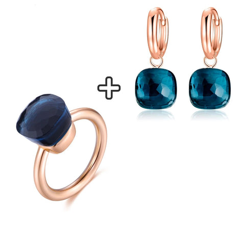 Blue Topaz Earring Ring  Set Sterling Silver with Rose Gold Color
