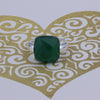 Natural Square Emerald Color Agate Sterling Silver Ring