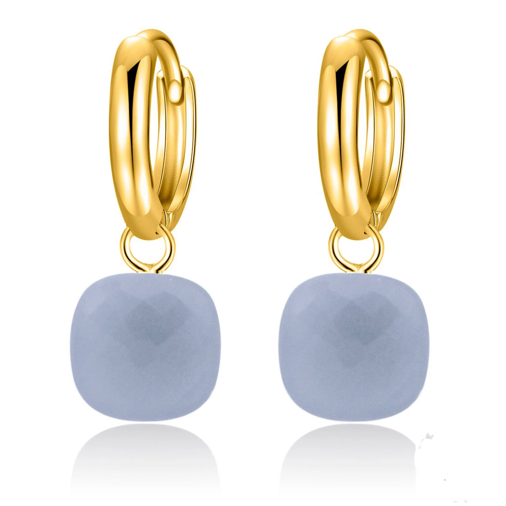 Natural Gray Agate Sterling Silver With Gold Color Drop Earrings