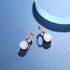 Natural Moonstone  Sterling Silver With Rose Gold Color Drop Earrings