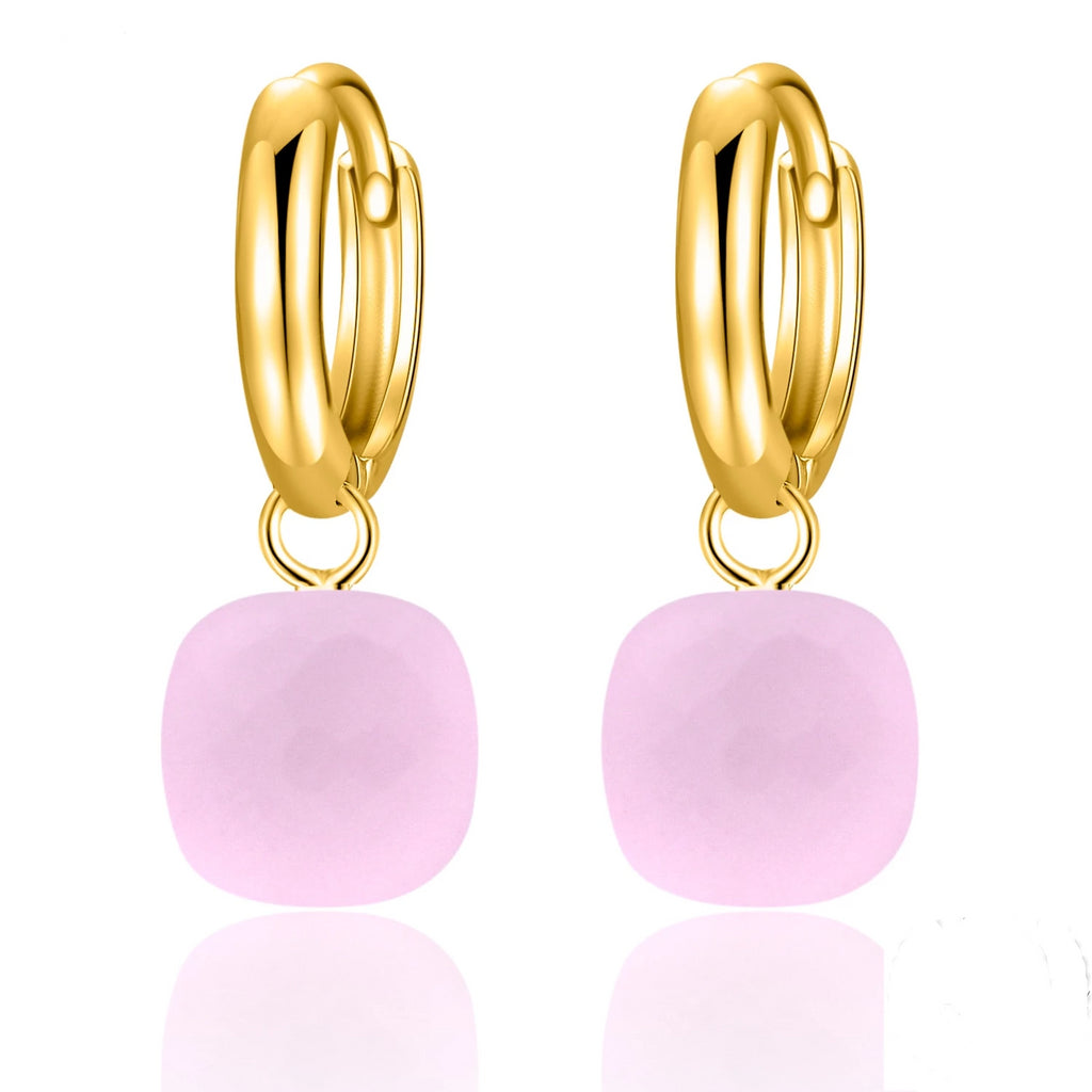 Natural Pink Agate Sterling Silver With Gold Color Drop Earrings