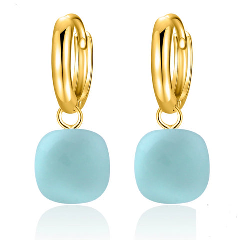 Natural Sky Blue Agate Sterling Silver With Gold Color Drop Earrings