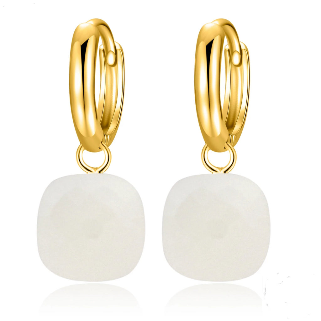 Natural White Agate Sterling Silver With Gold Color Drop Earrings