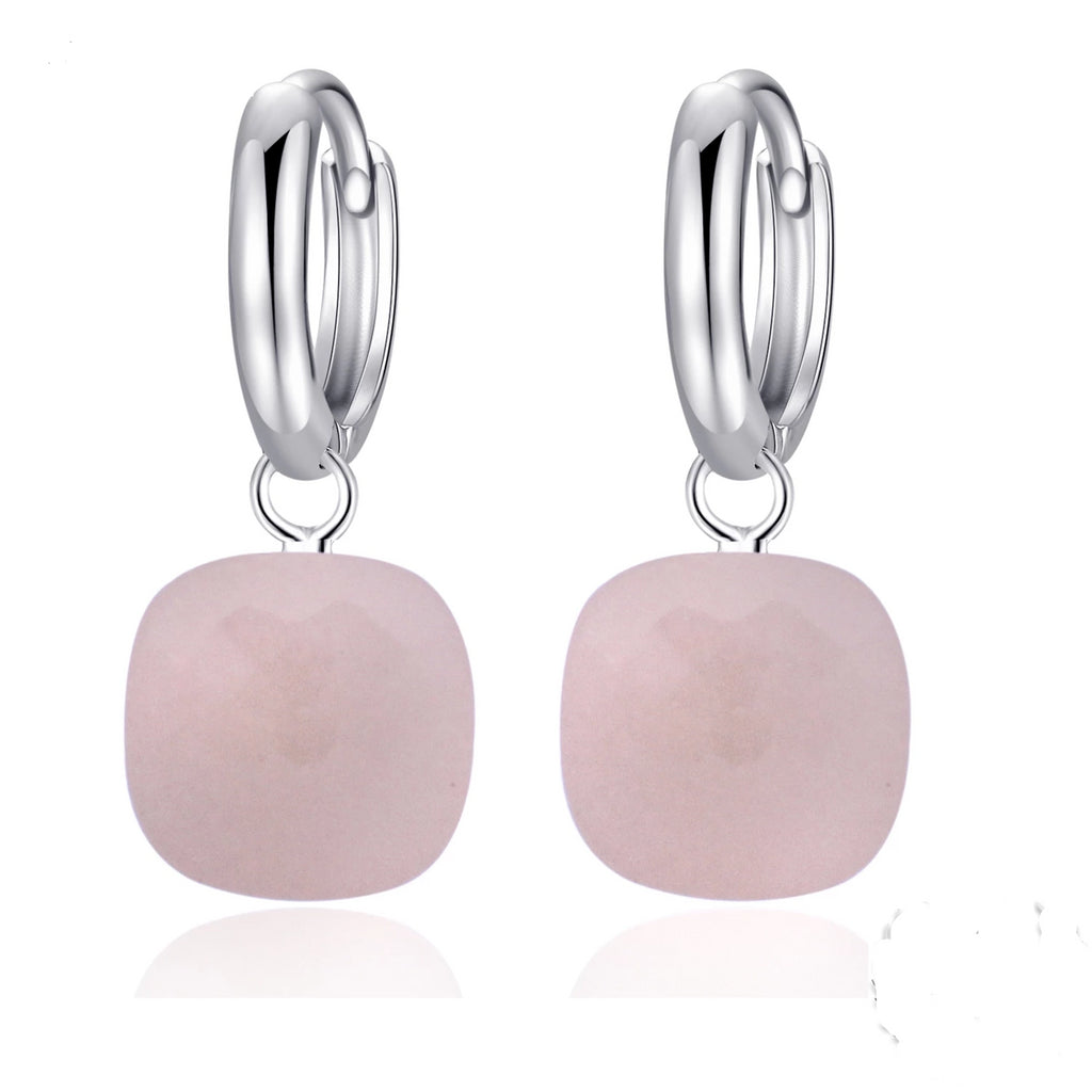 Natural Pink Agate  Sterling Silver Drop Earrings