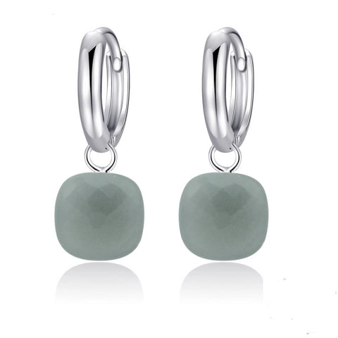 Natural Gray Agate Sterling Silver Drop Earrings