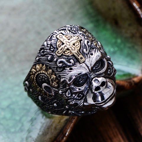 King Kong with Gold Cross Sterling Silver Ring