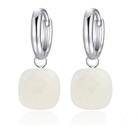 Natural White Agate Sterling Silver Drop Earrings