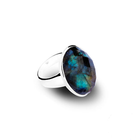 Natural Oval 21.52ct Labradorite Sterling Silver Ring