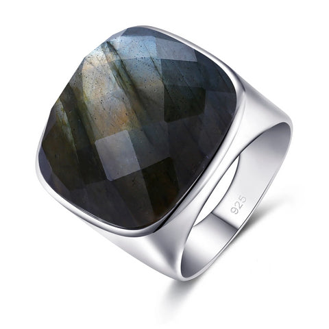 Natural Square 18.67ct Labradorite Sterling Silver Ring